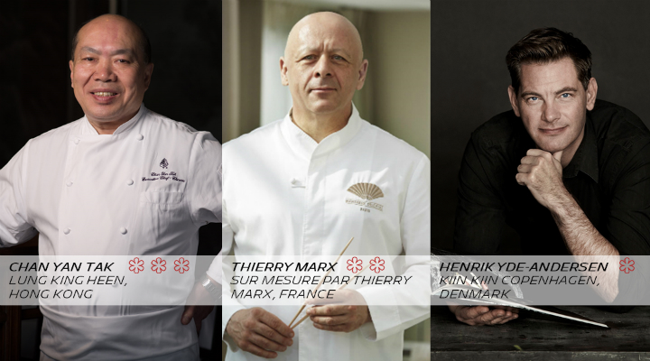 <p><strong>Three MICHELIN Stars&nbsp;</strong>- Lung King Heen @ Four Seasons Hotel, Hong Kong: Chan Yan Tak<br /><strong>Two MICHELIN Stars</strong> - Sur Mesure par Thierry Marx, France: Thierry Marx<br /><strong>One MICHELIN Star</strong>&nbsp;- Kiin Kiin Copenhagen, Denmark: Henrik Yde-Andersen</p>
